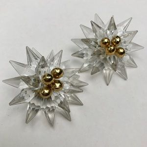 Acrylic beaded flower vintage earrings